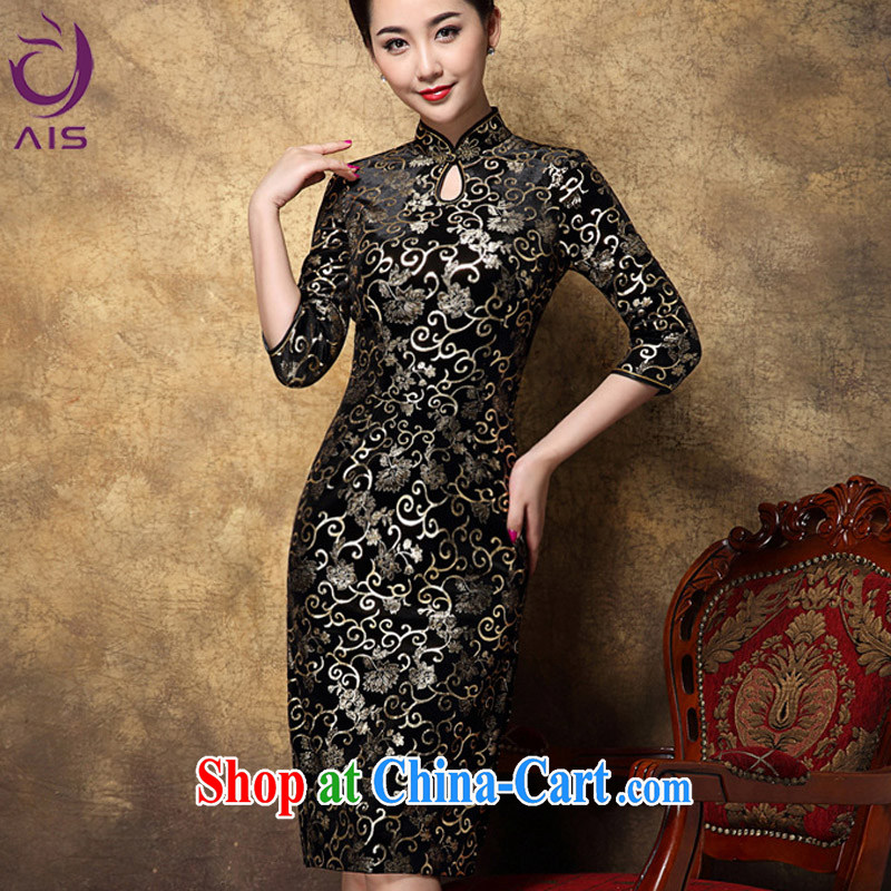 She made the 2014 autumn and winter new female high Style Fashion cheongsam instead Korean velvet mother in long, black robes XXL .