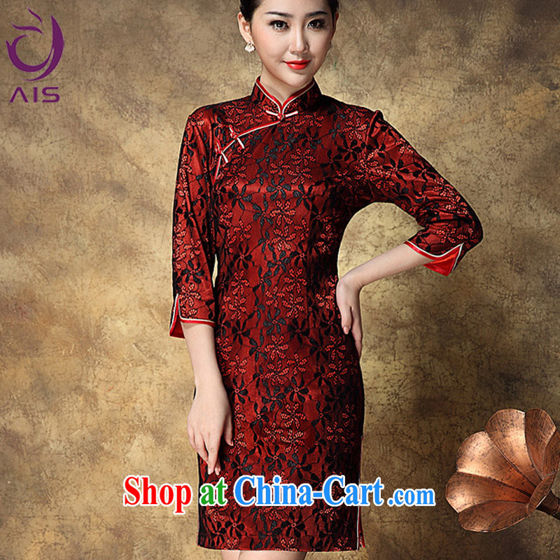She made the 2014 autumn and winter European site female cheongsam Stylish retro elegant palace chinese Chinese Lace Embroidery cheongsam red XXL