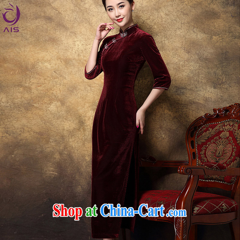 She made the 2014 autumn and winter new female Chinese Korean lint-free Chinese mom long cheongsam red XXL