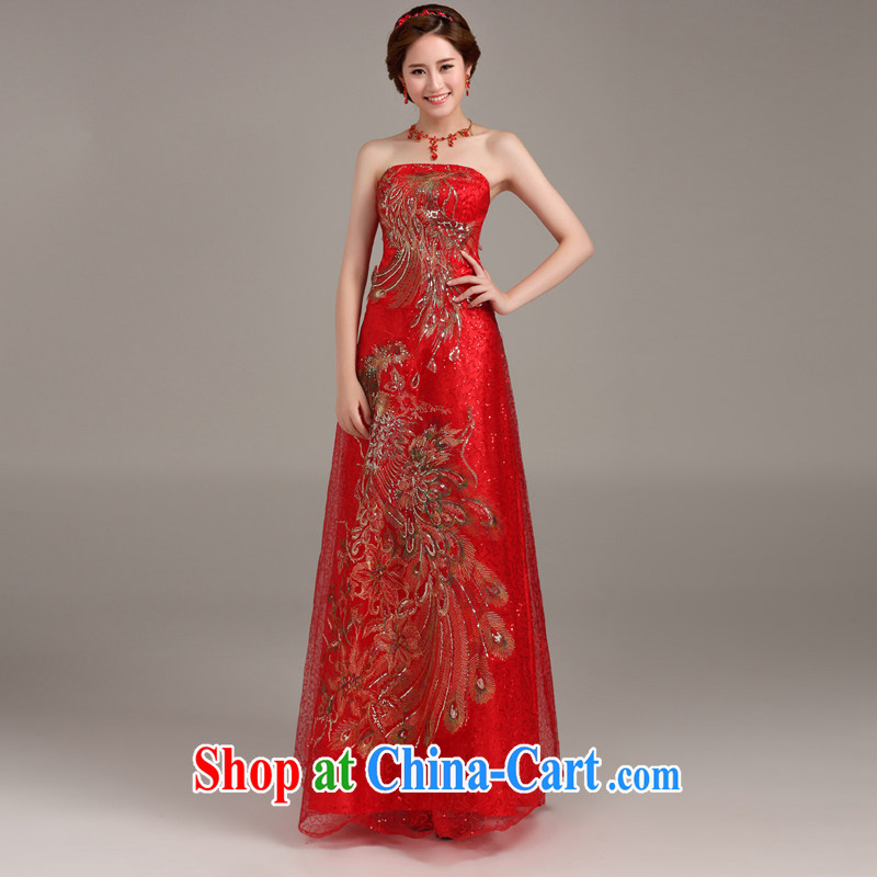 Ting Beverly 2014 new dress long Korean stylish wedding toast service banquet dress moderator dress beauty red S