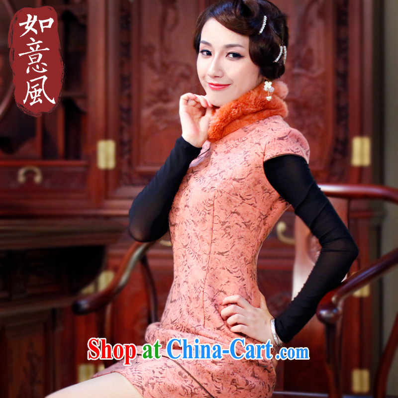 Wind unwind after 2014, genuine new women fall and winter dresses and stylish improved retro warm cheongsam dress 3054 3054 orange XXL