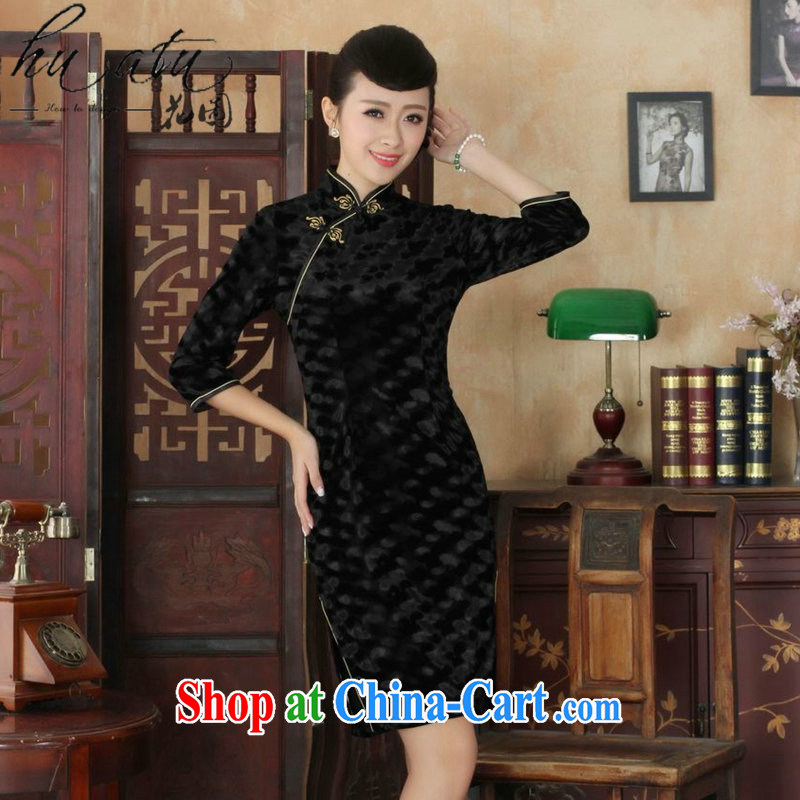 Take the autumn Tang Women's clothes outfit New paragraph for the Chinese noble gold velour Sau San cheongsam dress 7 Cuff - A XL 3
