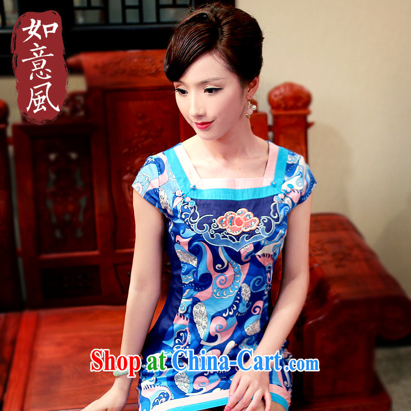 Unwind after the 2015 spring and summer new stylish fresh improved party collar short cotton girl cheongsam dress 4139 4139 Tibetan youth XL