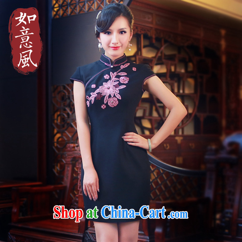 ruyi, 2014 new middle-aged larger female China wind fall and winter, thick MOM hair? dress 4811 black S