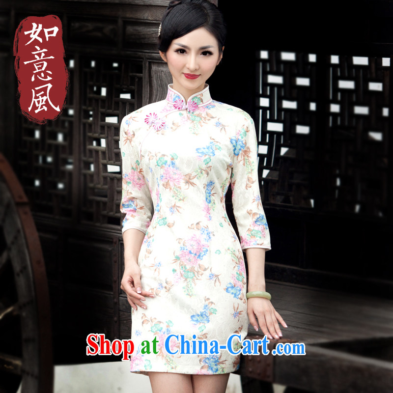 Wind sporting fall 2014 new dresses, Stylish retro improved day-cuff in cheongsam dress 4818 4818 fancy XXL