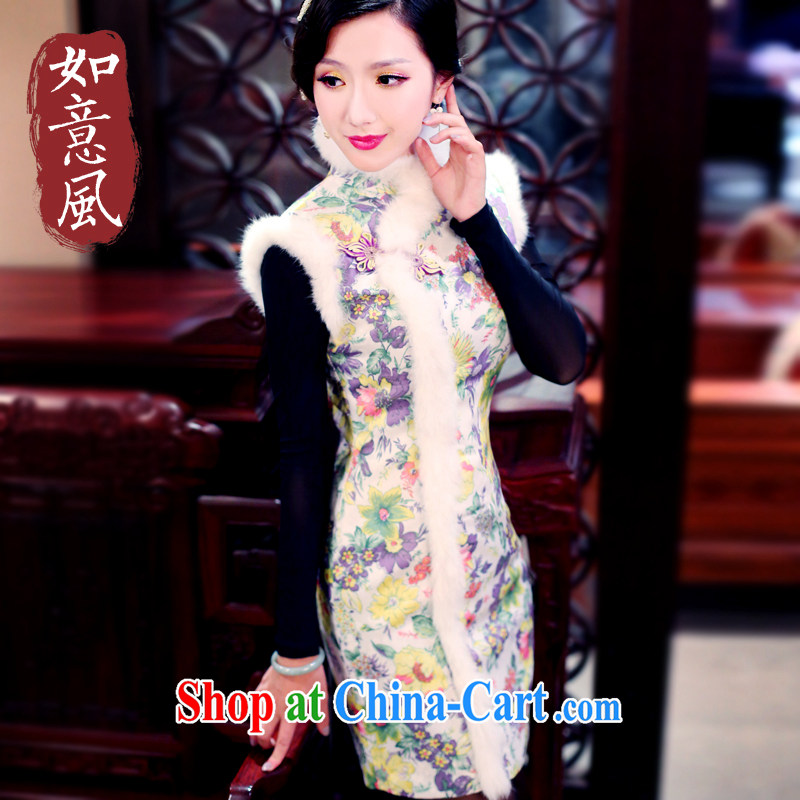Ruyi wind hair clip cotton retro autumn and winter winter outfit with new 2014 daily fashion improved cheongsam 4903 4903 yellow XXL