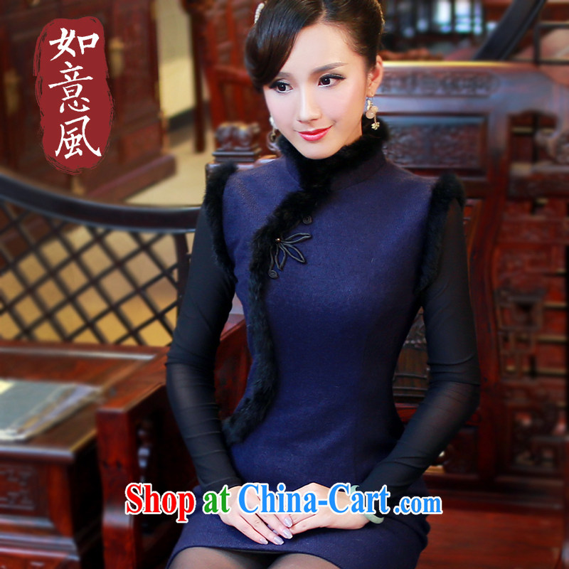 Ruyi style in a new, autumn and winter and stylish high-end cheongsam dress hair for improved solid-colored short cheongsam dress 4808 4808 blue XXL