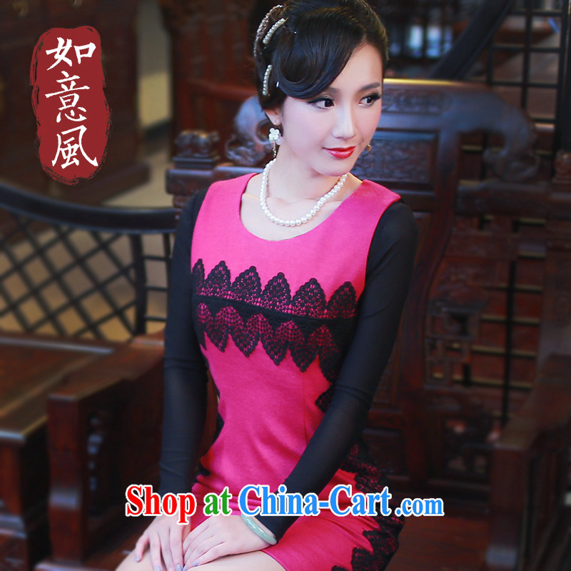 Fan sporting 2014 new autumn and winter gem original qipao Chinese improved still daily outfit connection dress 4803 4803 red XXL