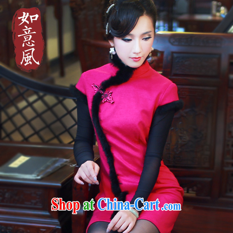 Ruyi style in a new, improved day-fall Ms. manually load cheongsam dress quilted style retro dresses 4819 4819 red XXL