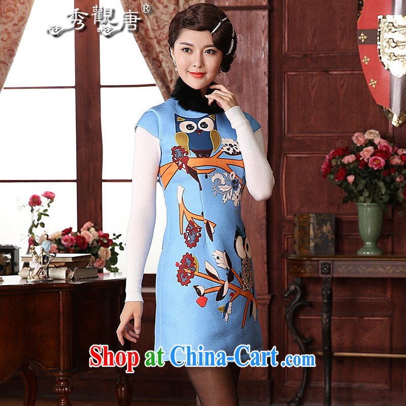 The CYD HO Kwun Tong' fuser dream 2014 winter clothing new improved cheongsam rabbit hair style stamp dresses QD 4932 sky XXL