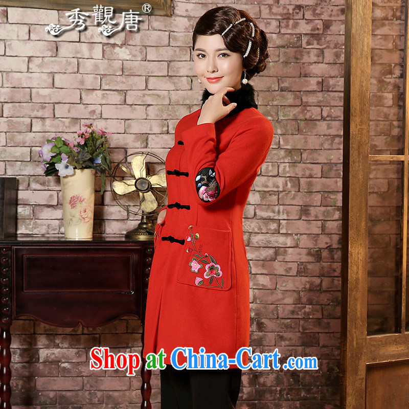 The CYD HO Kwun Tong' Chan saffron winter 2014 new embroidery, so Gross Gross coat for girls long-sleeved Tang replace TC 41,001 red XXXL