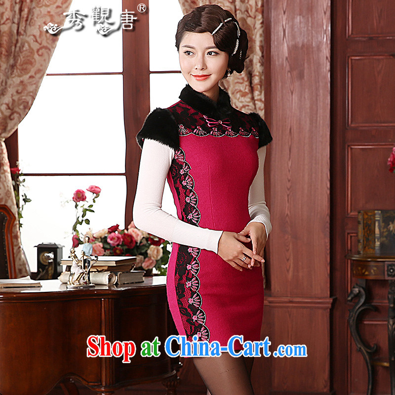 The CYD HO Kwun Tong' proverbial hero 2014 winter clothing wool dresses that aura beauty retro hair collar dresses QD 4924 better red XXXL