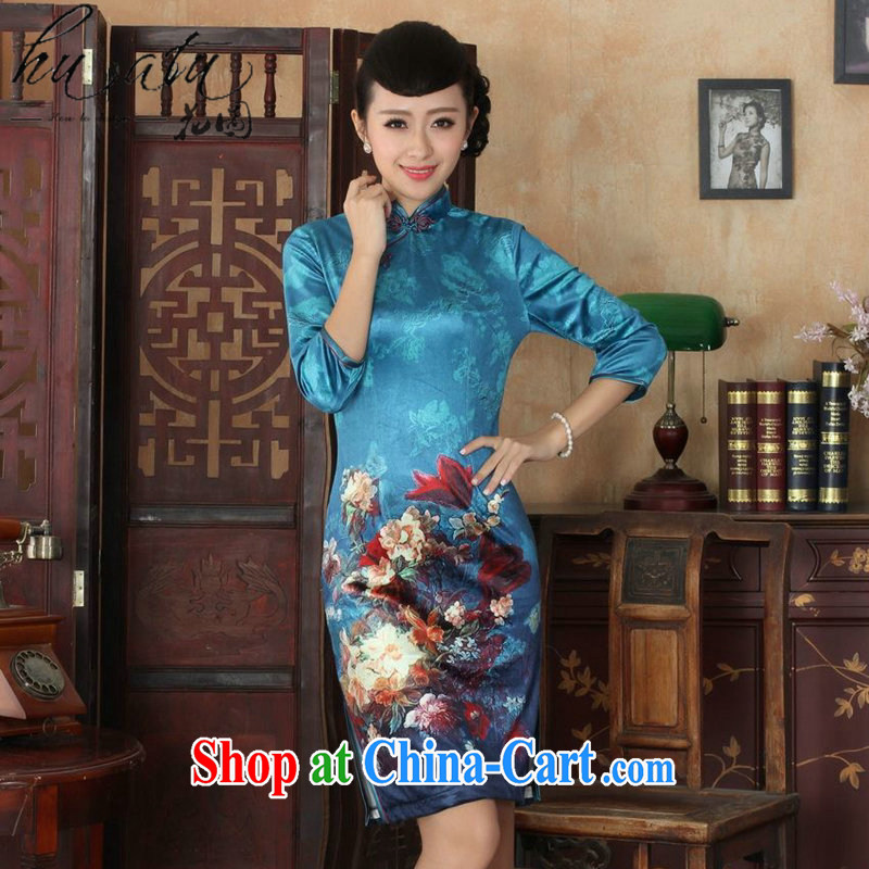 Take the fall with new Tang Women's clothes, cheongsam collar Chinese noble gold velour improved cheongsam dress 7 cuff such as figure 3 XL