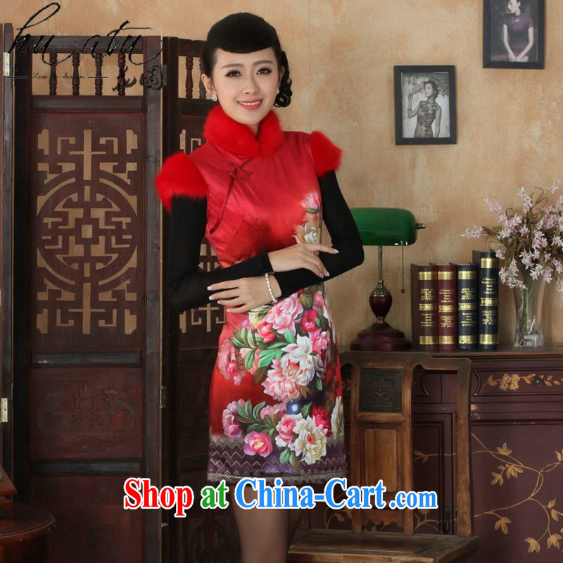 spend the winter clothes New Tang Women's clothes, cheongsam collar Chinese improved classic wool wool for the cotton short cheongsam as color 2XL