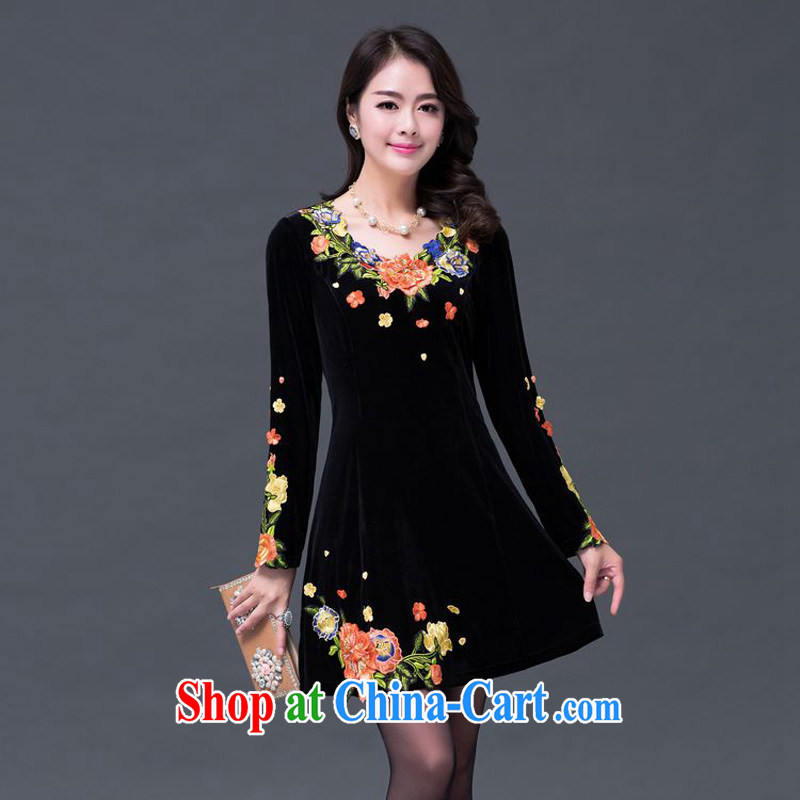 JA the 2014 autumn and winter, the lovely antique flower collar, velvet-waist dresses SSF - 1384 photo color XXXXXL