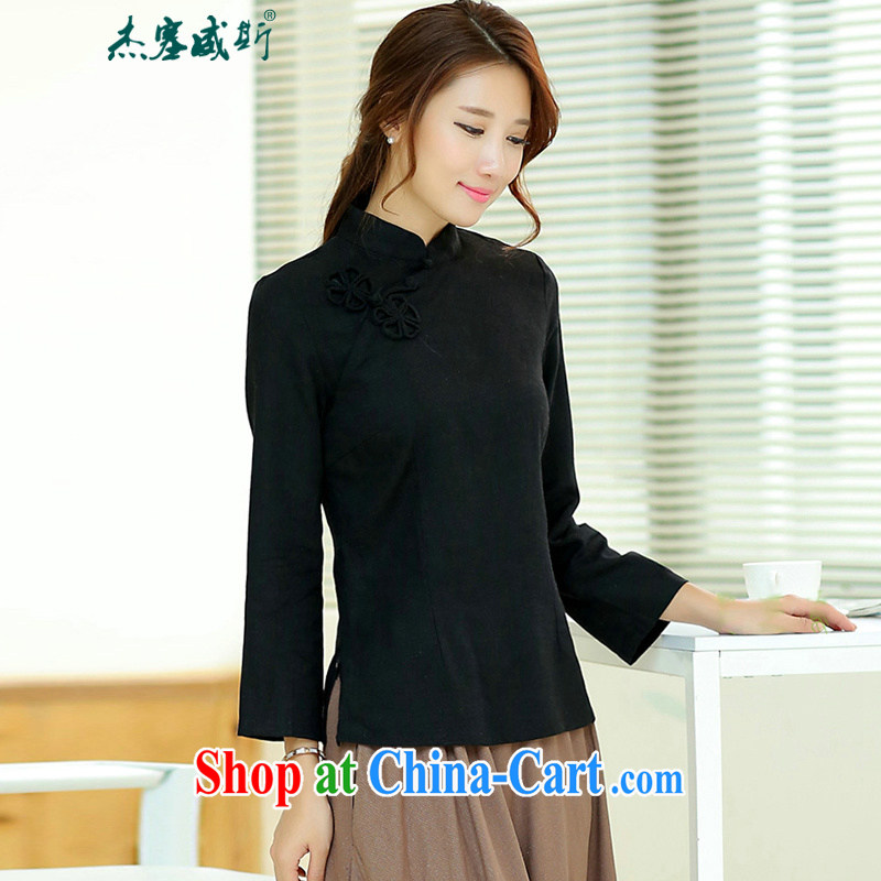 Jack Plug, spring and summer female Chinese improved national wind Retro is a tight hand-tie cotton Ma Tang long-sleeved shirt with black XXL