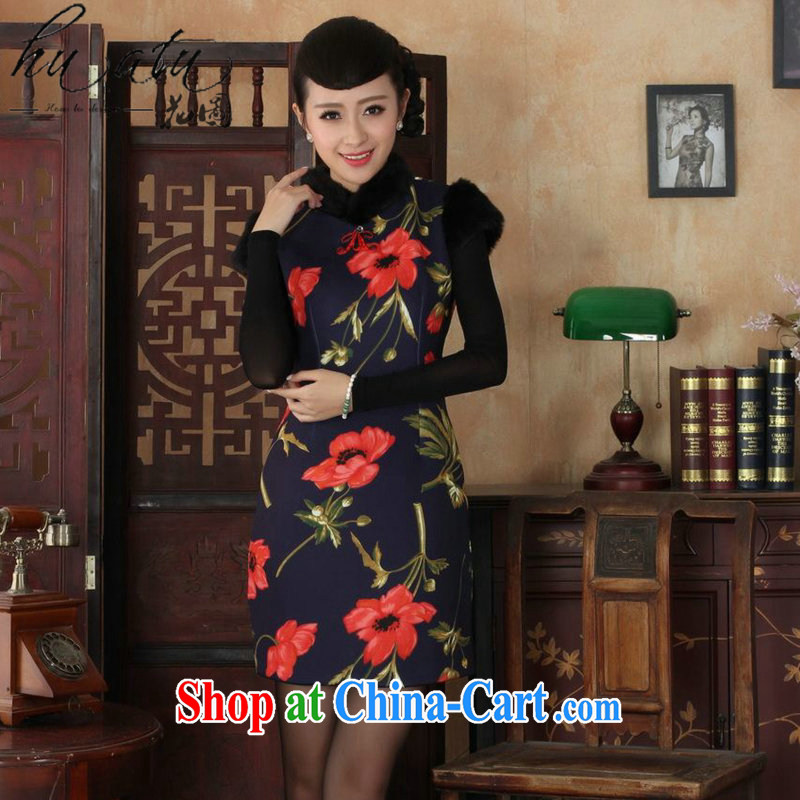 Take the Tang Women's clothes cheongsam Chinese improved retro, for winter National wind robes stretch cotton short cheongsam as figure 2 XL