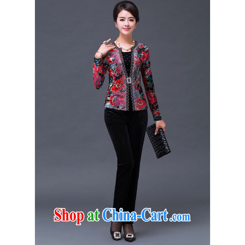 JA the 2014 autumn and winter new retro full stamp duty on Pearl River, Kim velvet jacket trousers Kit SSF - 1492 - 14,001 red flower?XXXXXL