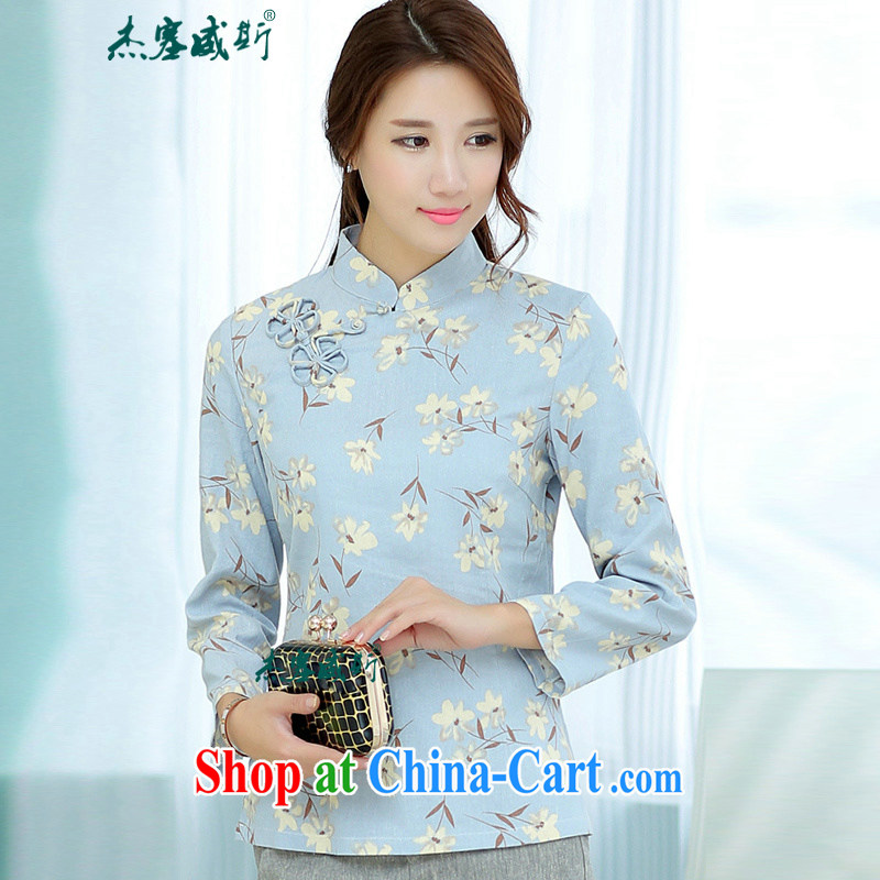 Jessup, China wind spring and summer women improved Chinese Antique linen stamp duty, for long-sleeved hand-tie Chinese shirt T-shirt, long sleeved shirt, a flower M