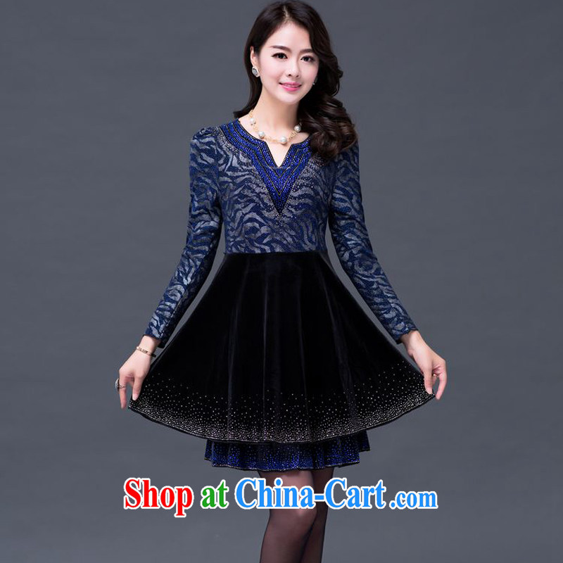 JA the 2014 autumn and winter new V collar 100 hem gold velour stamp nail Pearl dresses SSF - 1497 blue XXXXXL