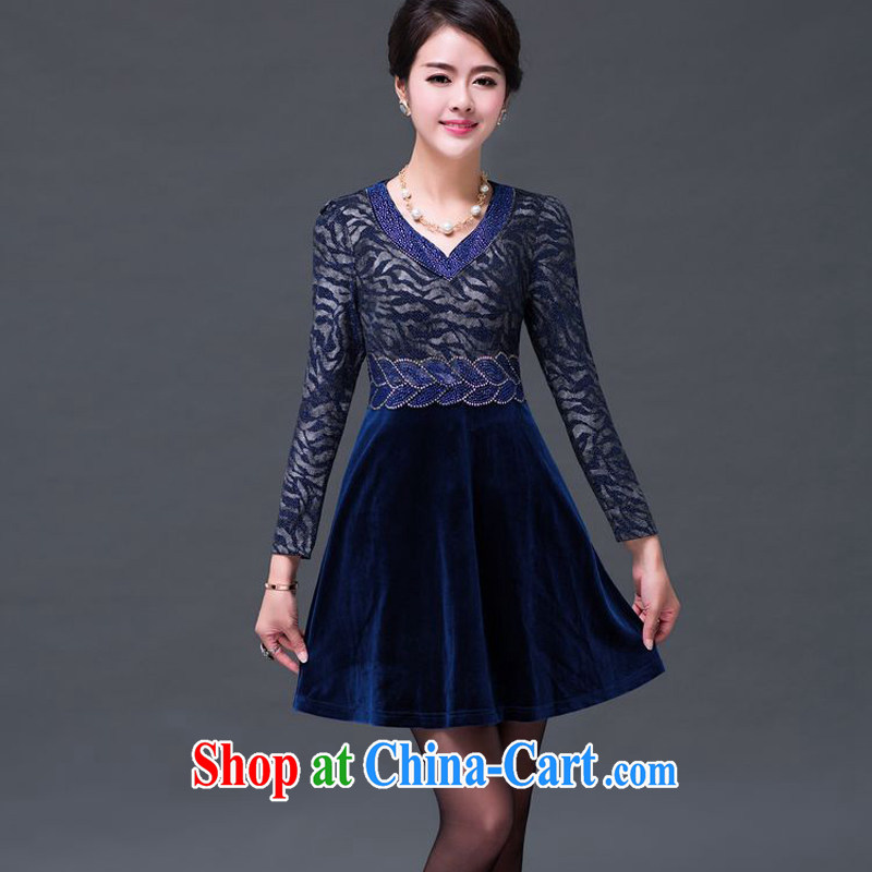 JA the 2014 autumn and winter new larger staples V Pearl collar stamp Kim velvet dress SSF - 1498 blue XXXXXL