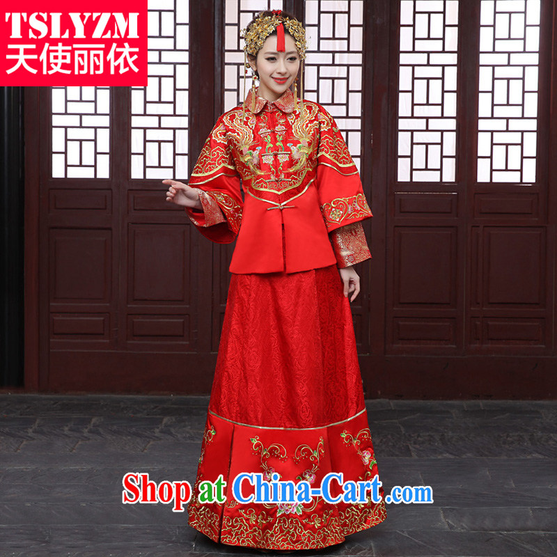 Tslyzm marriages married Yi wedding clothes dress Chinese wedding embroidery classic qipao cheongsam embroidered Sau Wo service costumed show kimono Dragon skirt use use red XS
