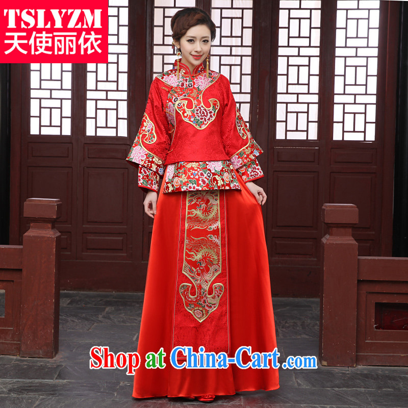 Angel, Mrs Carrie Yau, 2014 in accordance with new, improved Chinese dragon boat brides and wedding dresses-su Wo service-soo and the toasting service bridal dresses costumes Fung Koon married Yi red XS
