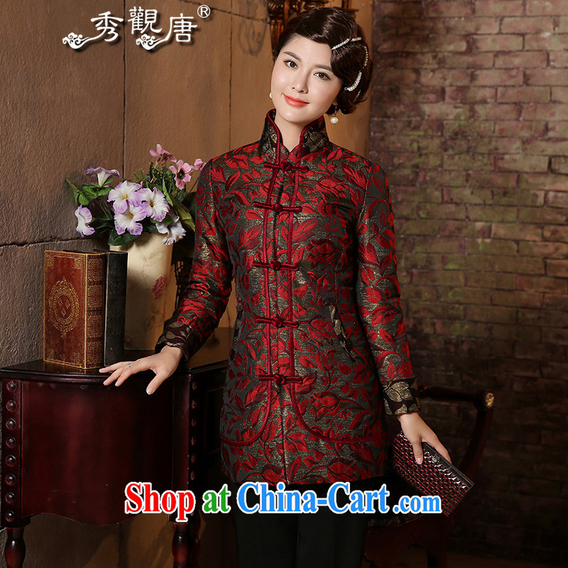 The CYD HO Kwun Tong' flowers and leaves the elderly Ms. Tang is 2015 winter jackets quilted mom with quilted coat 4936 TC XXXL suit