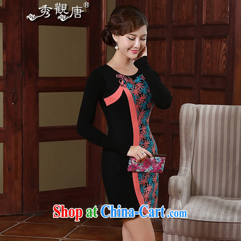 The CYD HO Kwun Tong' corner the 2015 winter clothing new improved modern style decorated women in cheongsam dress FW 4907 fancy XXXL