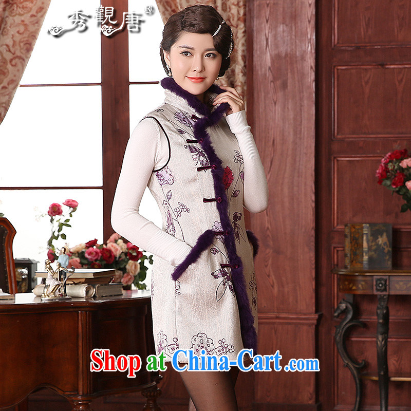 The CYD HO Kwun Tong' rain Mei 2015 autumn and winter, with Chinese Ma folder Chinese folder cotton wool for a TW 41,003 purple color XXL