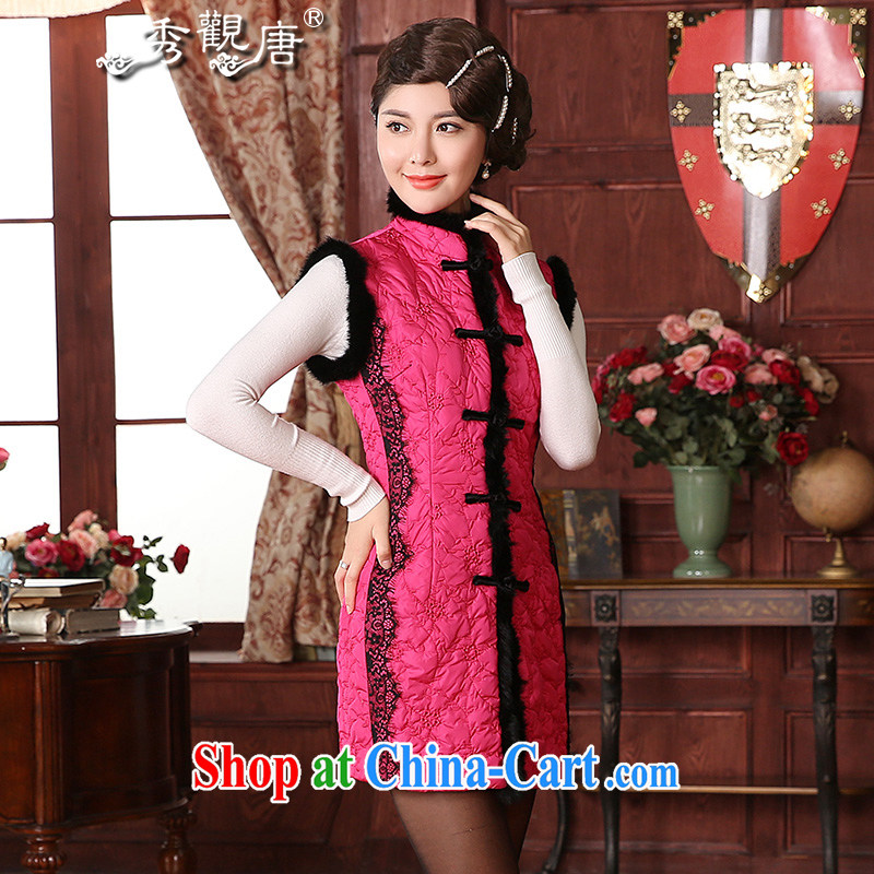 The CYD HO Kwun Tong Yen_ fall_winter fitted with cotton Ma folder 2015 new aura, Ms. Tang is a TW of 41,002 red XXL