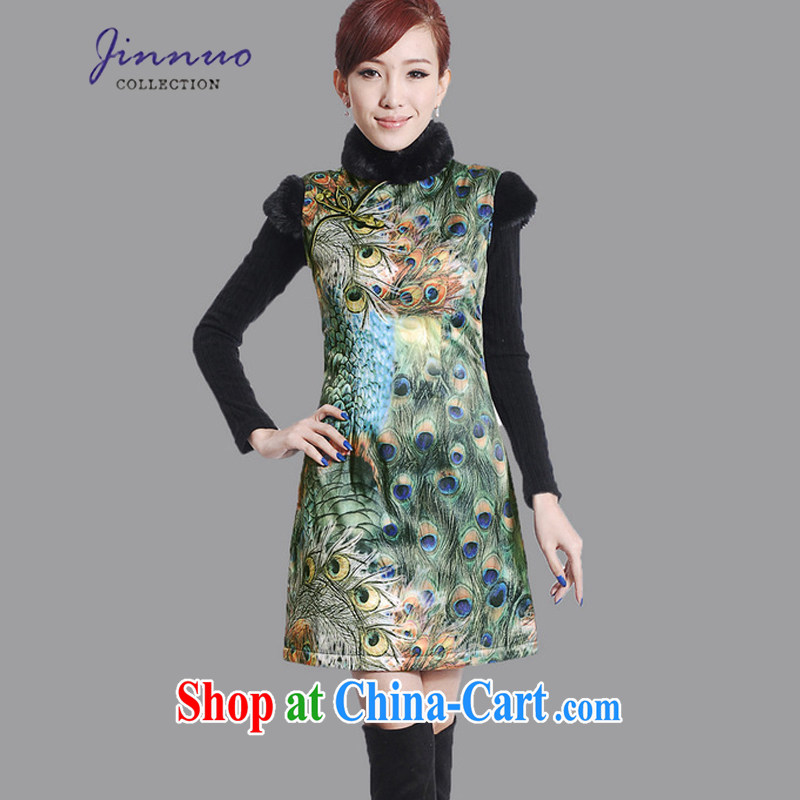 kam world at the autumn and winter with new female Peacock embroidery floral beauty graphics thin antique Chinese style restaurant work uniforms with improved the cotton short-sleeved flag Y 0015 green XXL