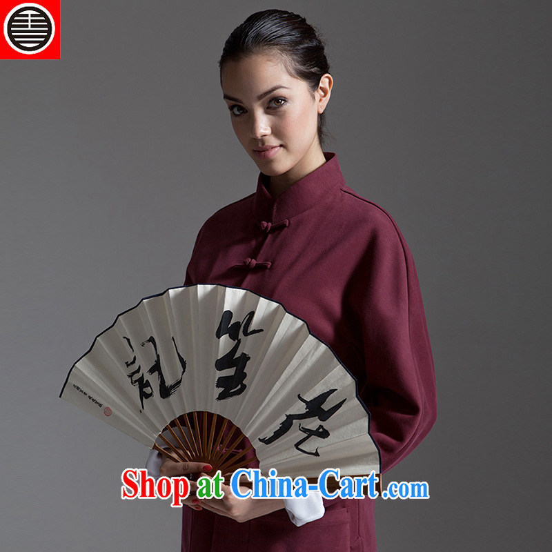 His Excellency took note China wind ROC Chinese is Ms. buckle cultivating Chinese national improved stylish casual cotton jacket and wine red (M)