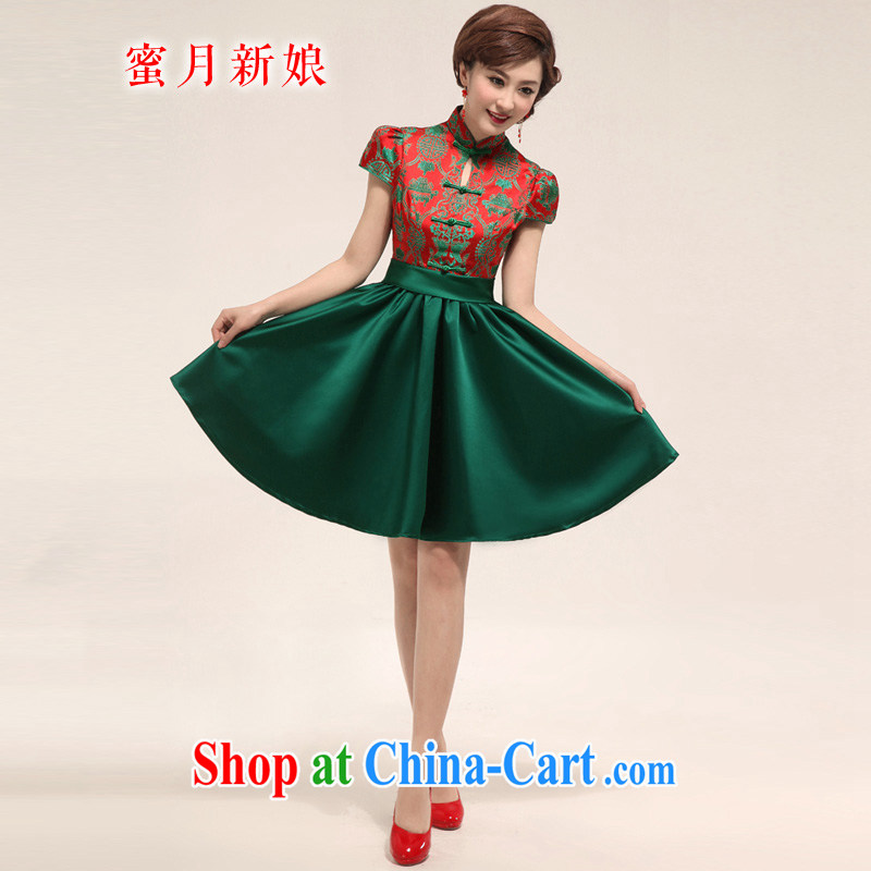 Honeymoon bridal 2015 New Green short dresses bridal improved bows beauty dresses costumes bridal small dress suit XXL