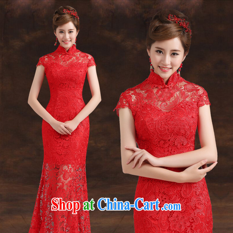Ting Beverly toast clothing stylish bridal wedding dresses new 2014 long cultivating crowsfoot embroidery lace wedding dress female Red XXL