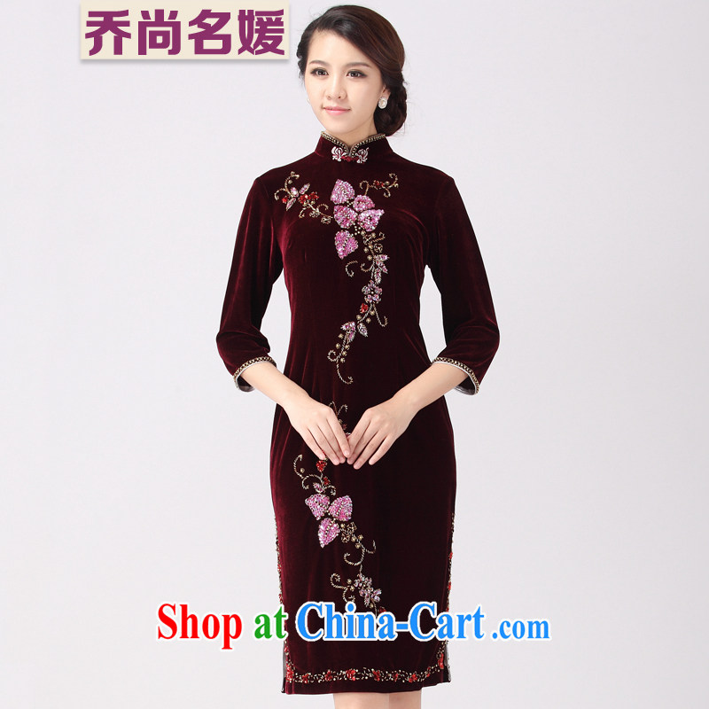Wedding MOM dress cheongsam dress upscale staples in Pearl River Delta long DZ 008 maroon XXXL _2 feet 6 back_