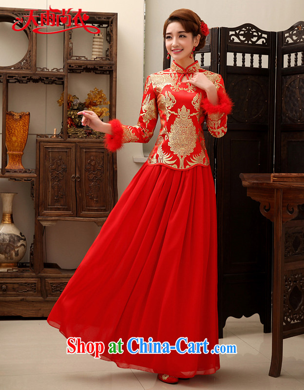 Rain is still clothing bridal wedding dresses wedding winter improved wedding toast serving the doors long cheongsam QP 457 red long-sleeved XXL