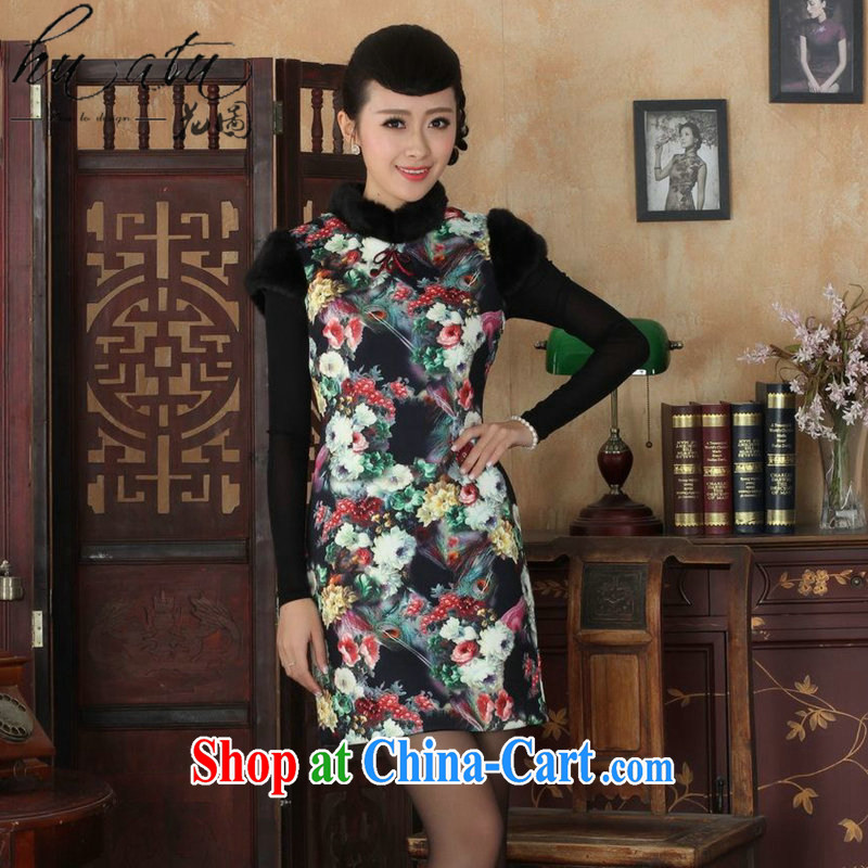 spend the winter clothes New Tang Women's clothes cheongsam Chinese improved, for flexible retro winter cotton short cheongsam 6 2 XL