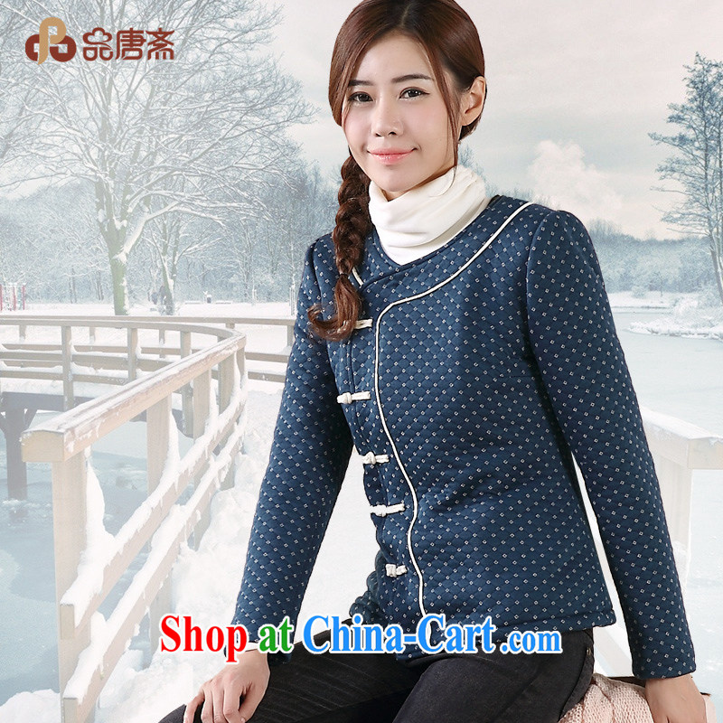For Tang Ramadan 2014 winter clothing new Ethnic Wind and lint-free cloth thick cotton clothing Tang jackets girls royal blue XL