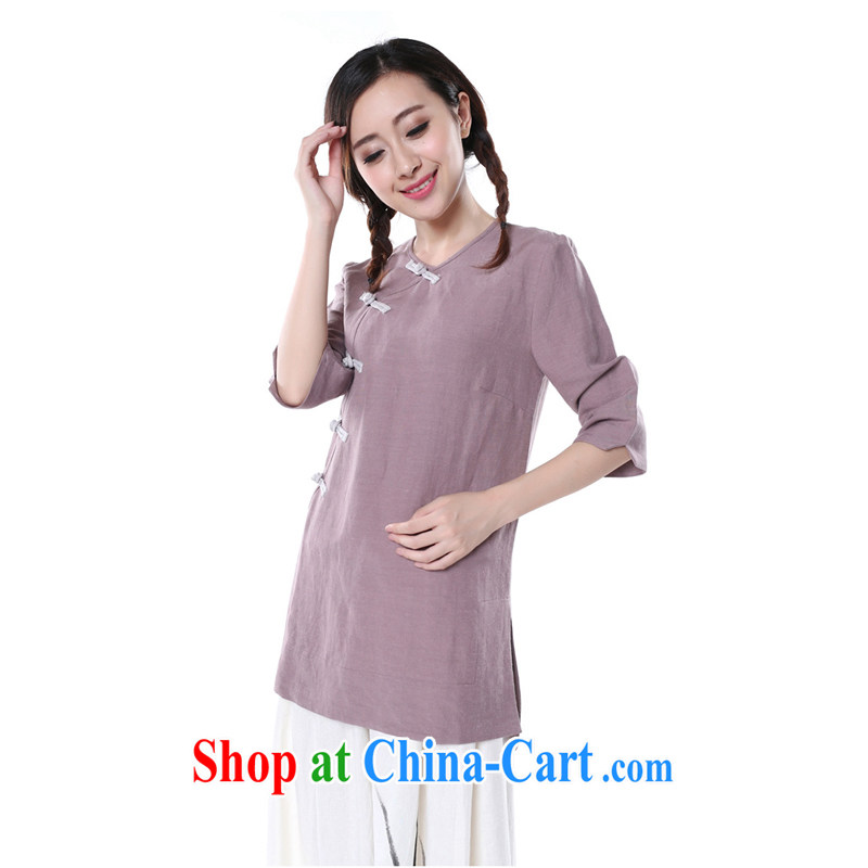 Chinese Antique ancient Chinese civilization, dresses T-shirt_Chinese style long-sleeved cotton Ma blouses purple XL XL