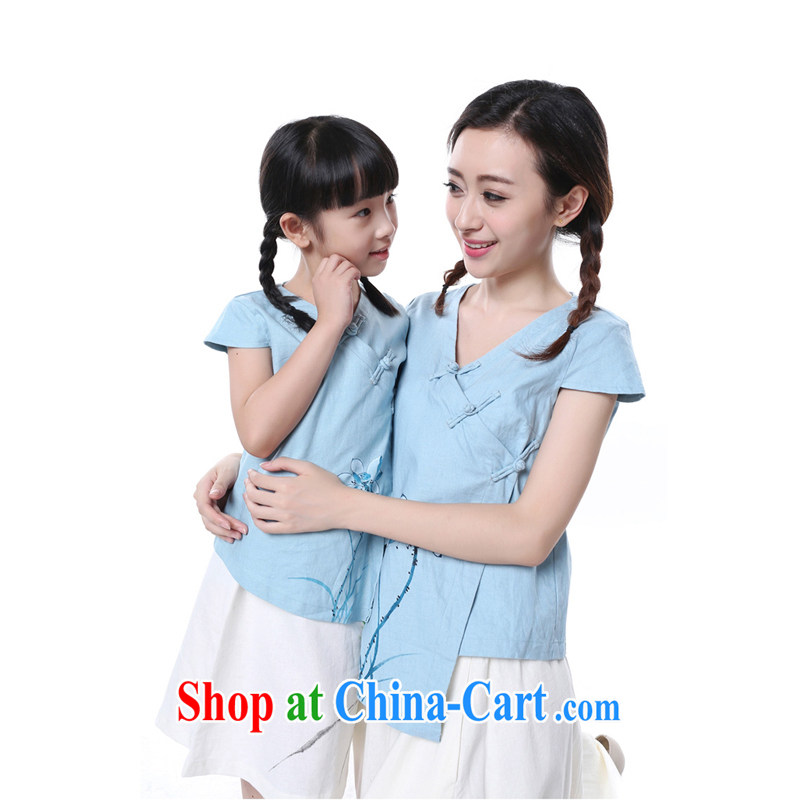 2014 China wind Tang Women's clothes/retro cotton Ma ethnic wind mother and daughter parent-child with children's wear cultural clothing style hand-painted children's wear 9 code 135 CM