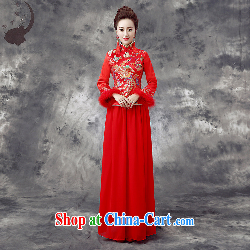 Dream of the day wedding dresses 2015 new cheongsam dress bridal toast clothing qipao improved cheongsam qipao spring Q 861 the cotton winter XXXL paragraph 2.4 feet waist