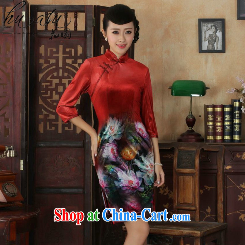 Spend the autumn and the New Tang Women's clothes, cheongsam collar Chinese hand-painted ethnic wind-scouring pads beauty cheongsam dress 7 cuff 4 2 XL