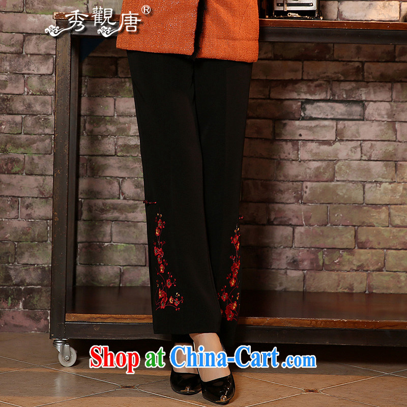 The CYD HO Kwun Tong red autumn of the embroidered pants 2014 Chinese Womens Pants black short pants K 41,012 black 25 yards
