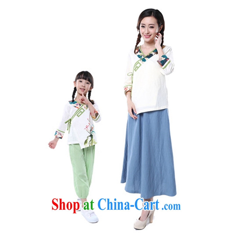 Retro Han-Chinese qipao_sleeveless parent-child with mother and daughter with Chinese wind cotton Ma hand-painted white adults, M code _the Code_
