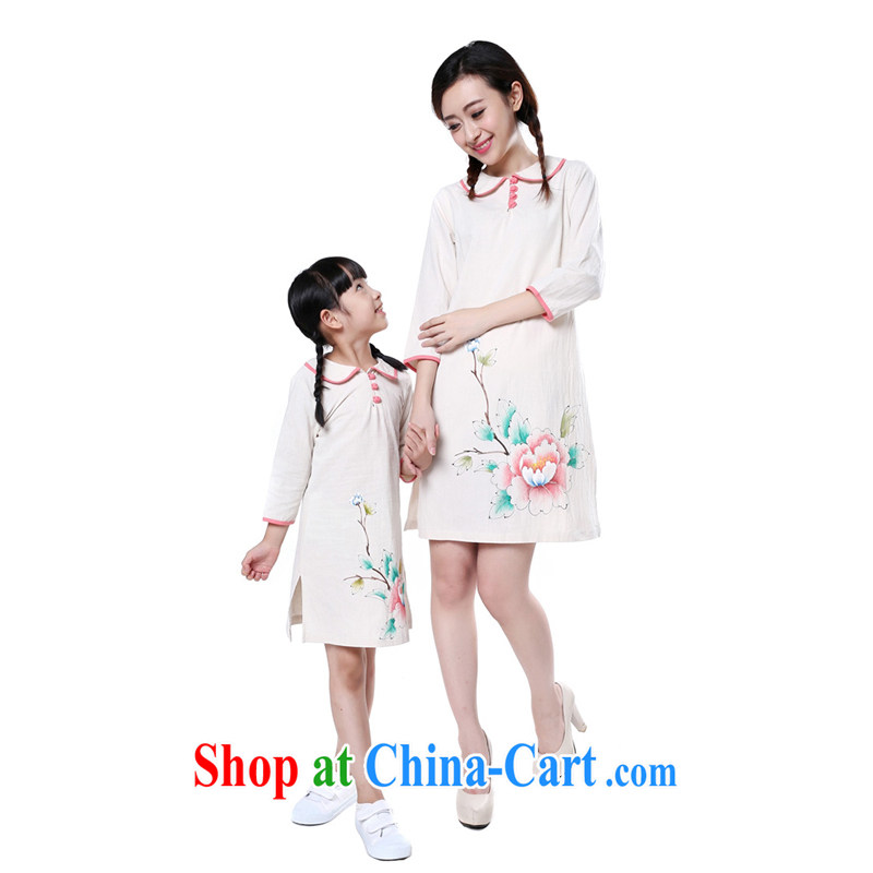 Chinese Antique, clothing_cotton Ma hand-painted in autumn cuff with children cheongsam parent-child dresses mother and daughter with white children 7 135 CM