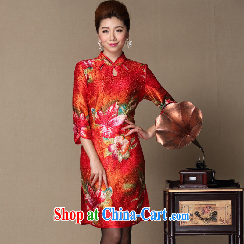 fall and winter stylish festive young mother with silk wrinkled Openwork dresses on older mothers with TGY 198 red XXL