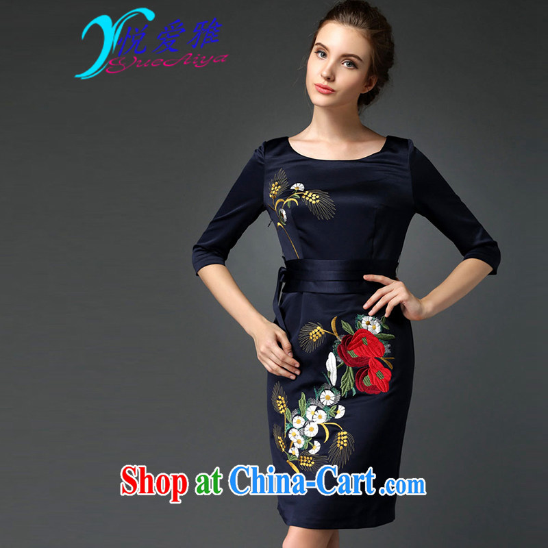 Yue love Ya 2015 spring new elegant style dinner dress cheongsam embroidered beauty dresses DR 98,026 Tibetan cyan XXXL