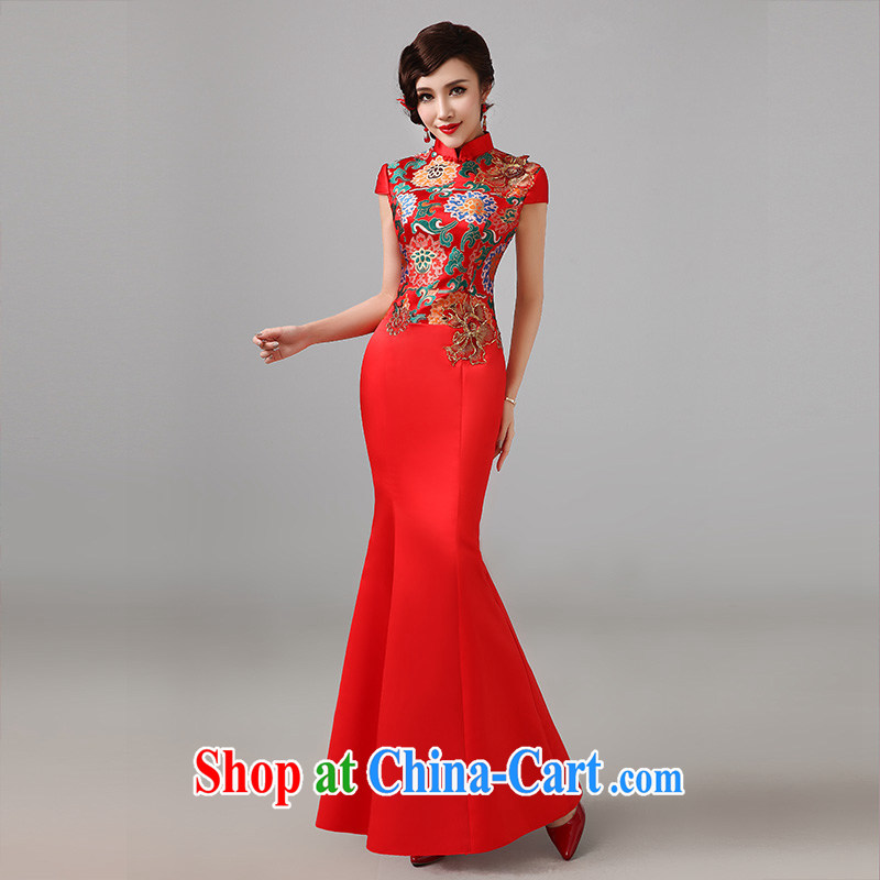 2014 New red short sleeves cheongsam dress Chinese marriages served toast long retro improved cheongsam M