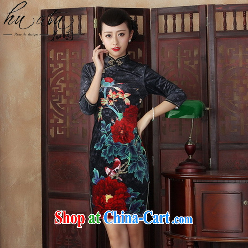 Spend figure, for Chinese Dress improved retro dresses gold velour cuff in autumn and the cheongsam Beauty Fashion dresses such as figure 2 XL
